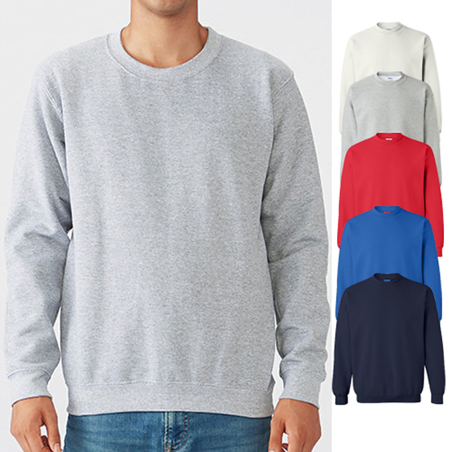 Men's Sweatshirt Pullover Sweatshirts Black White Blue Pure Color Oversized Jewel Neck Fleece Cotton Solid Color Cool Sport Athleisure Top Long Sleeve Breathable Soft Comfortable Exercise & Fitness