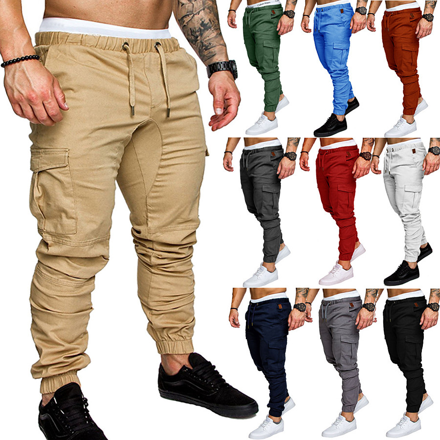 Men's Joggers Tactical Cargo Pants Street Sweatpants Bottoms Drawstring Beam Foot Cotton Fitness Gym Workout Performance Jogging Training Wearable Breathable Soft Normal Sport Solid Colored Dark Grey