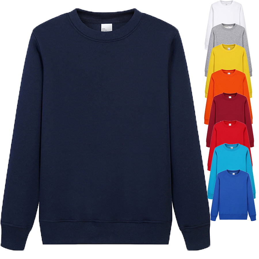 Men's Sweatshirt Pullover Sweatshirts Black White Blue Pure Color Crew Neck Fleece Cotton Solid Color Cool Sport Athleisure Top Long Sleeve Breathable Soft Comfortable Exercise & Fitness Running