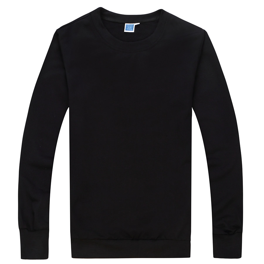 Men's Sweatshirt Pullover Sweatshirts Black White Blue Pure Color Crew Neck Cotton Solid Color Cool Sport Athleisure Top Long Sleeve Breathable Soft Comfortable Exercise & Fitness Running Everyday Use