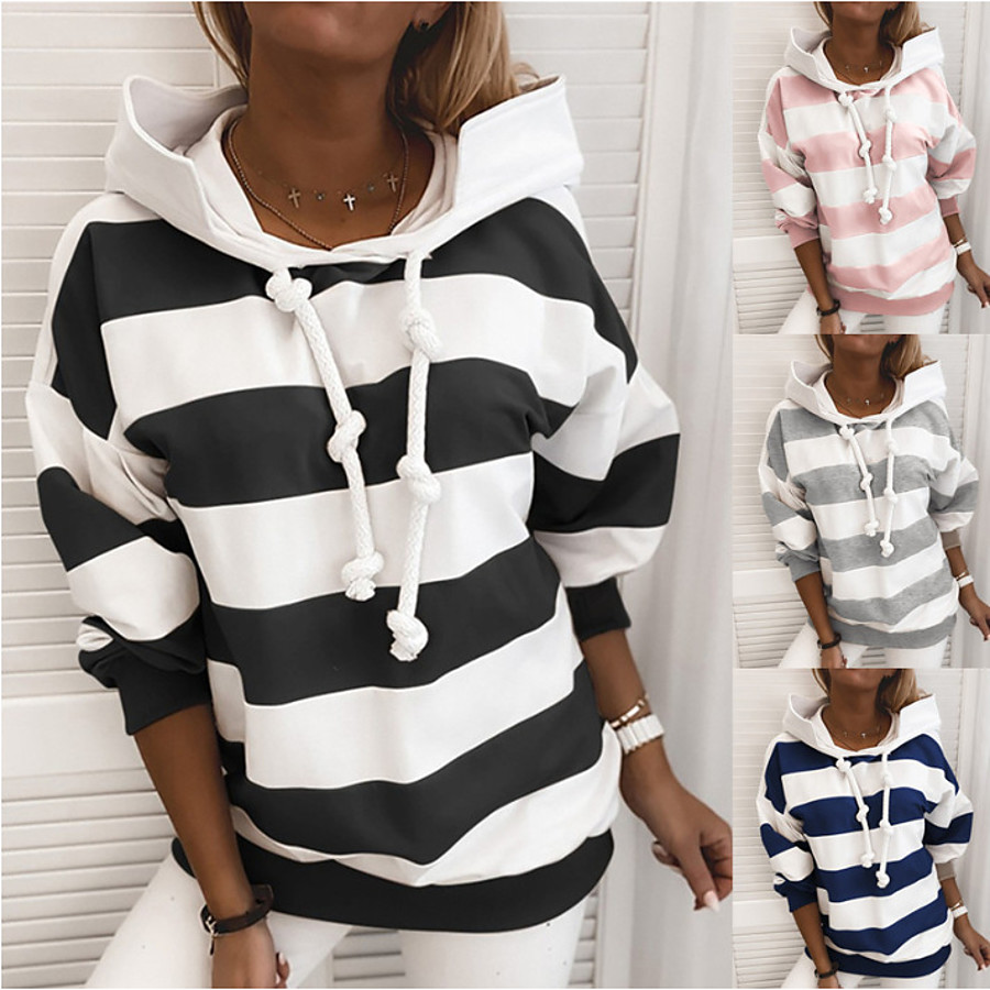 Women's Hoodie Sweatshirt Side-Stripe Oversized Hoodie Stripes Cute Sport Athleisure Pullover Long Sleeve Warm Soft Comfortable Everyday Use Causal Exercising General Use