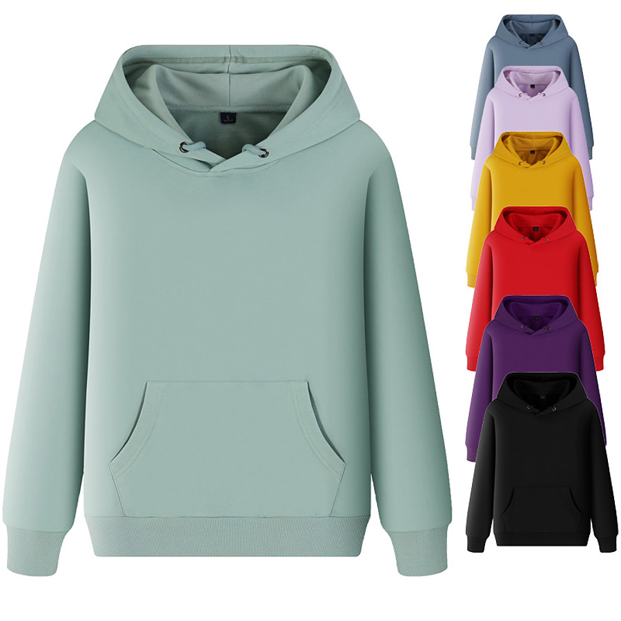 Women's Hoodie Sweatshirt Hoodies Pullover Hoody Black White Blue Pure Color Pocket Drawstring Hooded Cotton Solid Color Cute Sport Athleisure Top Long Sleeve Breathable Soft Comfortable Exercise