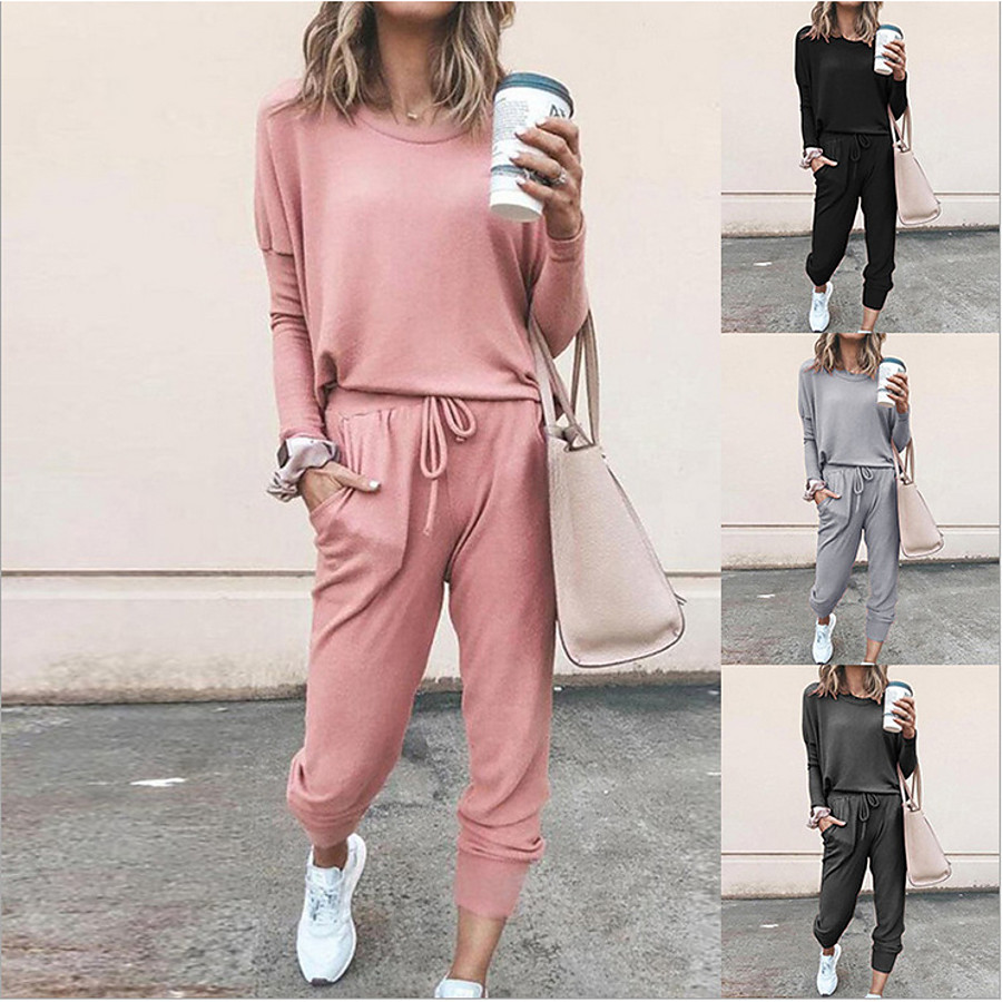 Women's Sweatsuit 2 Piece Set Black Pink Drawstring Pocket Loose Fit Minimalist Crew Neck Solid Color Cute Sport Athleisure Clothing Suit Long Sleeve Soft Oversized Comfortable Yoga Running Everyday
