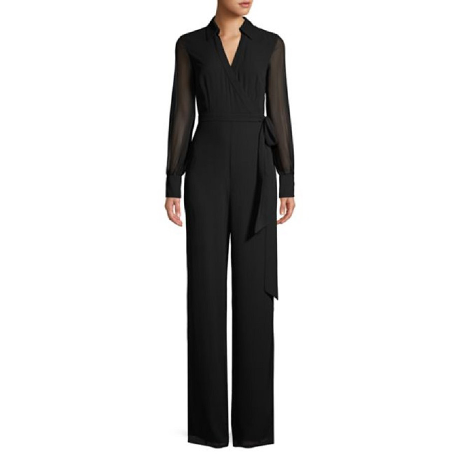 Women's Ordinary V Neck Black Jumpsuit Solid Colored Lace Mesh Chiffon
