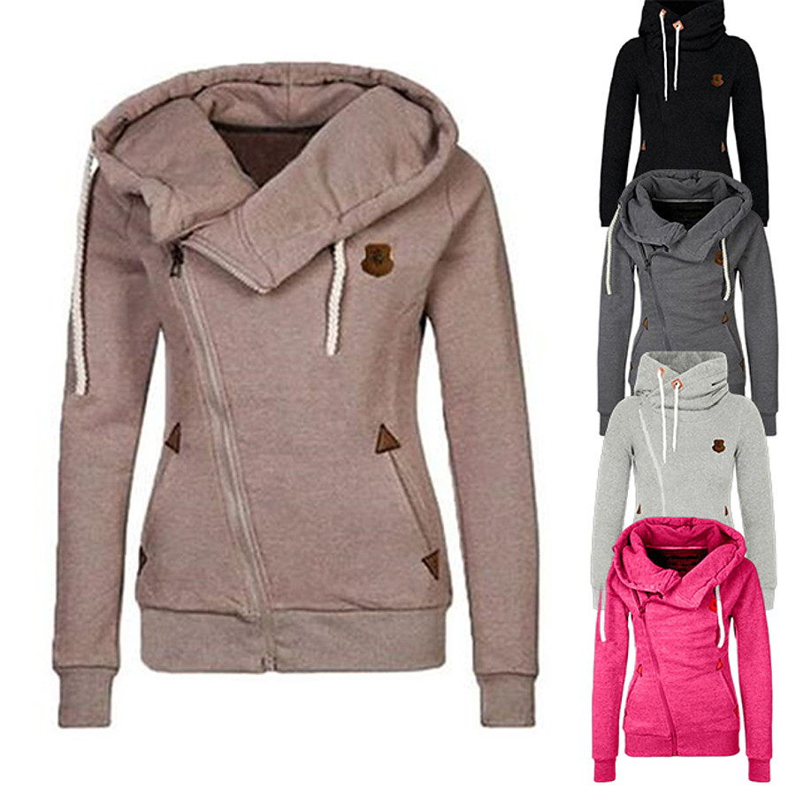 Women's Hoodie Hoodies Pullover Hoody Black Zipper Solid Color Sport Athleisure Hoodie Long Sleeve Comfortable Everyday Use Daily Casual