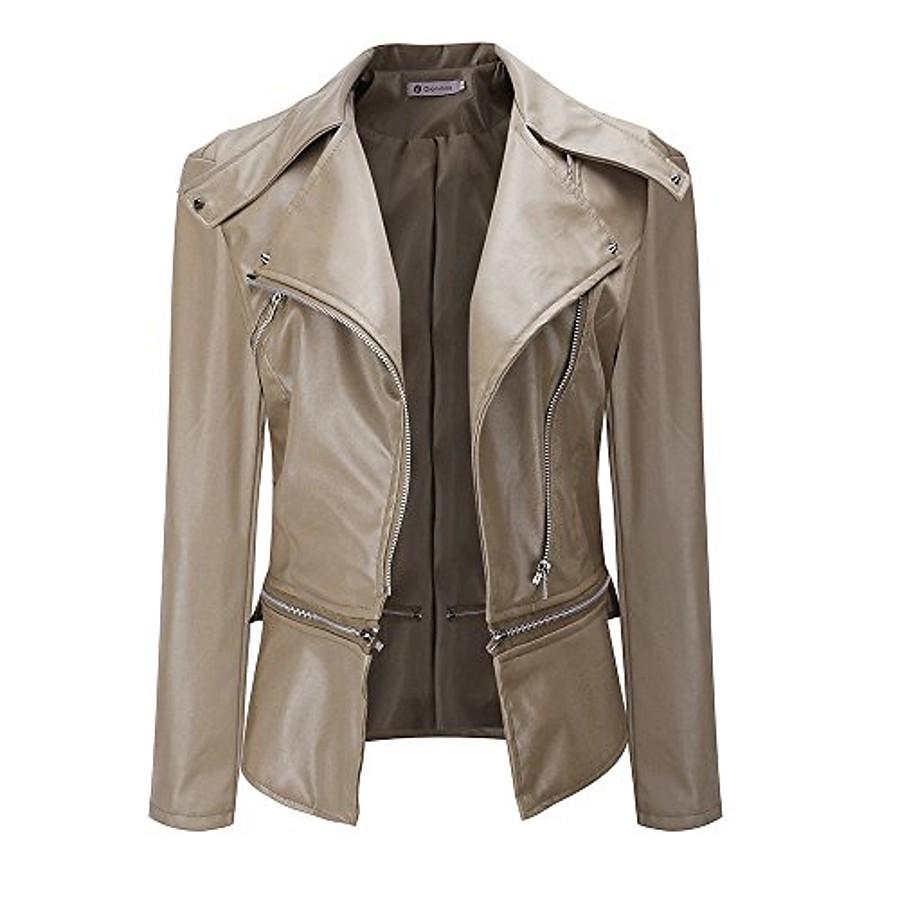 women jacket, autumn fashion vintage retro women biker motorcycle pu leather zipper jacket coat black (xl, khaki)