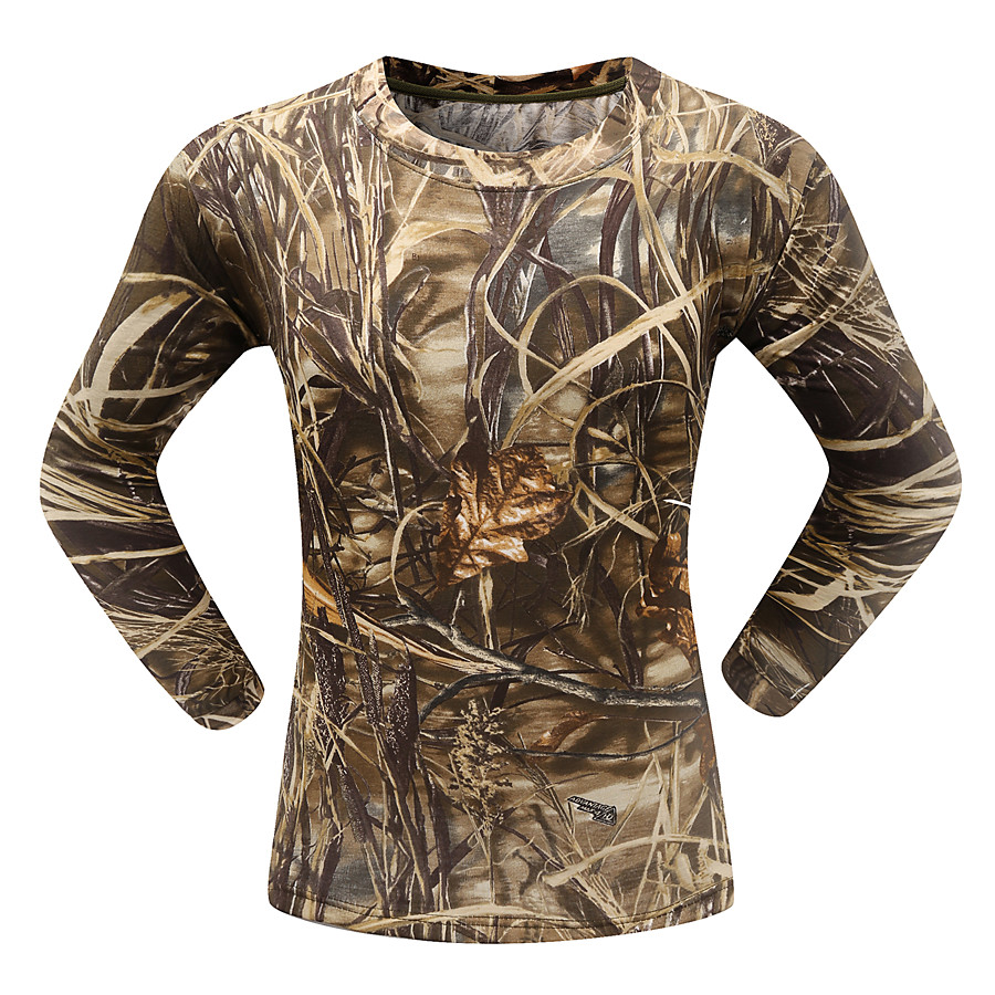 Men's Hunting T-shirt Tee shirt Camo / Camouflage Long Sleeve Outdoor Spring Summer Ultra Light (UL) Breathability Quick Dry Breathable Top Cotton Polyester Camping / Hiking Hunting Fishing Traveling