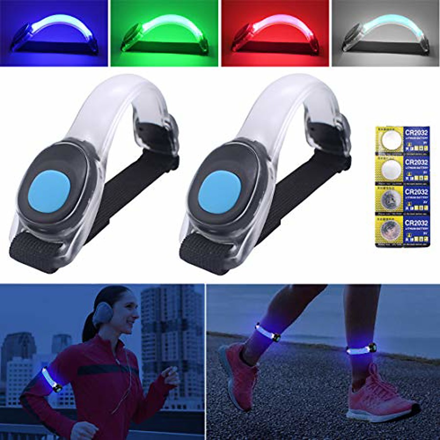 2pcs led running lights for runner, armband lights, safety lights waterproof with 4 extra batteries for for runners, dogs, bike, walking, jogging, child (white)