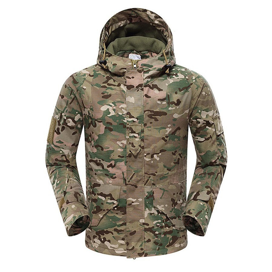 Men's Hoodie Jacket Outdoor Thermal Warm Waterproof Windproof Fleece Lining Fall Winter Spring Camo Coat Top Cotton Camping / Hiking Hunting Fishing Green / Black Black Yellow / Breathable