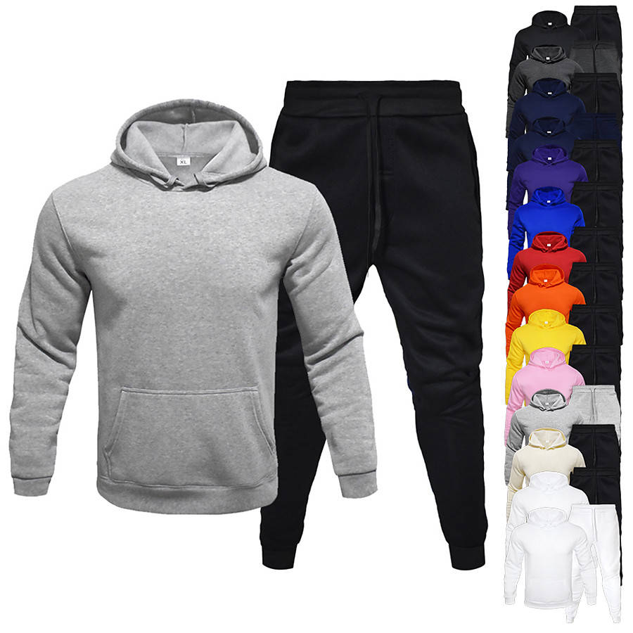 Men's 2 Piece Tracksuit Sweatsuit Jogging Suit Athleisure Long Sleeve 2pcs Winter Thermal Warm Breathable Moisture Wicking Fitness Gym Workout Running Jogging Training Sportswear Solid Colored Normal