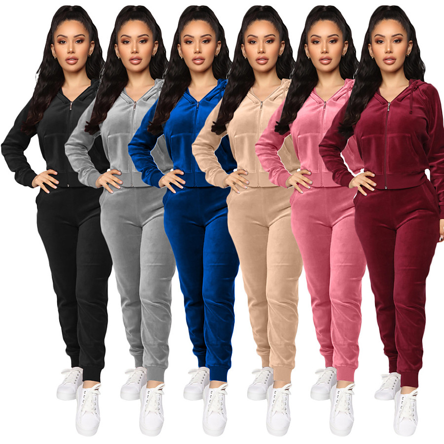 Women's 2 Piece Full Zip Tracksuit Sweatsuit Street Casual Long Sleeve Velvet Windproof Breathable Soft Yoga Fitness Gym Workout Running Jogging Sportswear Solid Colored Outfit Set Clothing Suit