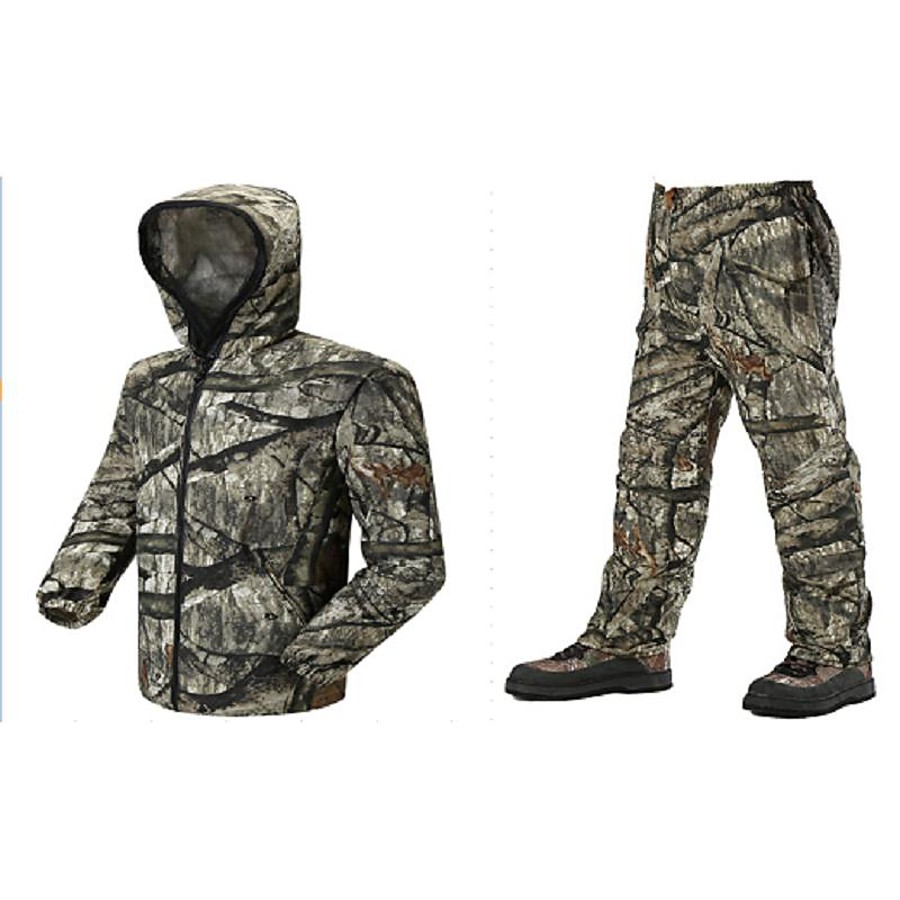 Men's Unisex Hunting Jacket with Pants Outdoor Windproof Quick Dry Breathable Wear Resistance Spring Summer Camo / Camouflage Clothing Suit Polyester Camping / Hiking Hunting Fishing Jungle camouflage