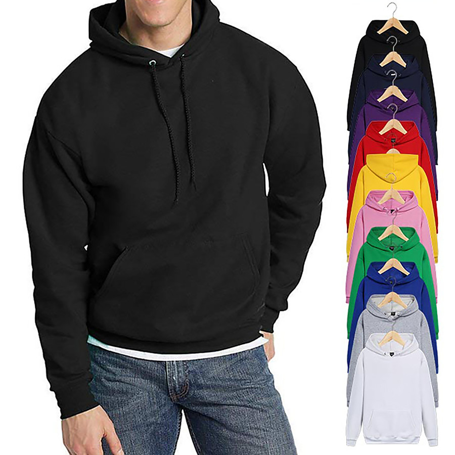 Men's Pullover Hoodie Sweatshirt Black White Blue Pink Pure Color Pocket Drawstring Cowl Neck Fleece Solid Color Cool Sport Athleisure Top Long Sleeve Breathable Soft Oversized Comfortable Gym Yoga