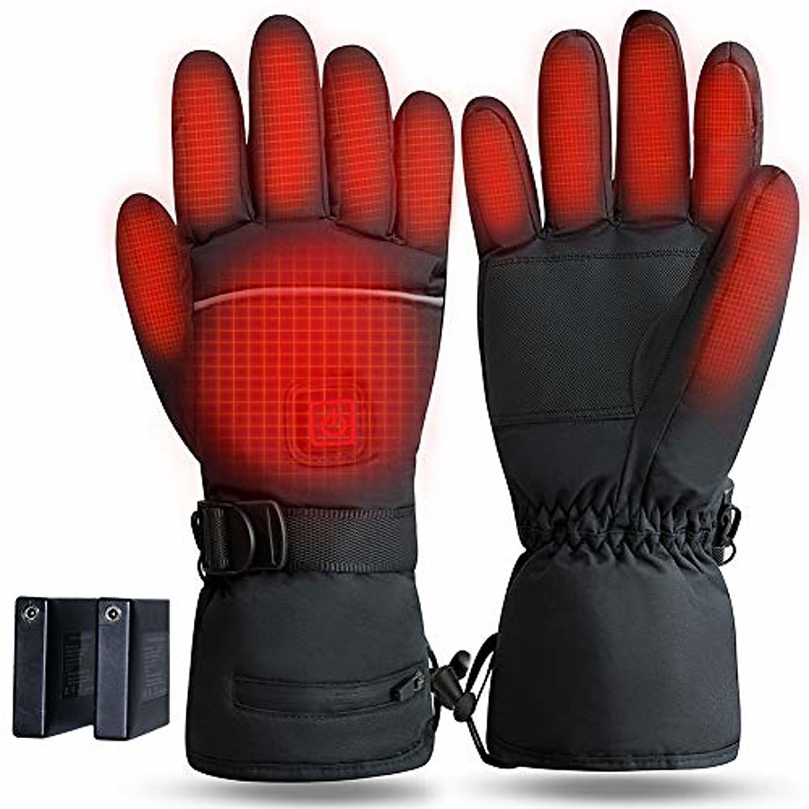 heated gloves rechargeable, 3.7v 4000mah battery operated electric thermal glove for men women, touchscreen washable heating hand warmer for motorcycle riding cycling fishing ski hiking - xl
