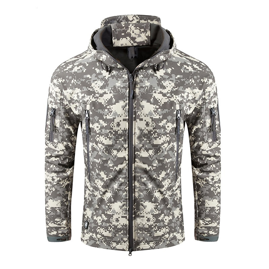 Nuckily Men's Hoodie Jacket Hunting Jacket Outdoor Windproof Warm Soft Comfortable Winter Camo Solid Colored Jacket Polyester Camping / Hiking Hunting Fishing Digital Desert Python Black Army Green