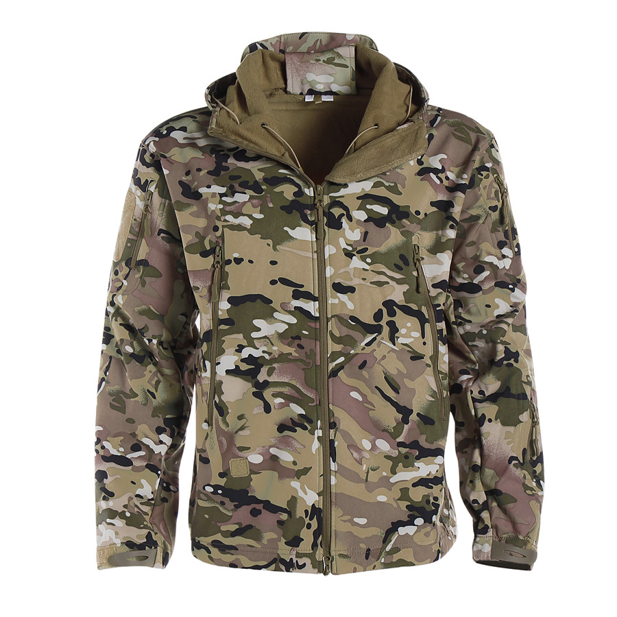 Men's Hoodie Jacket Softshell Jacket Camouflage Hunting Jacket Outdoor Thermal Warm Waterproof Windproof Multi-Pockets Autumn / Fall Winter Camo Softshell Jacket Coat Polyester Long Sleeve Camping