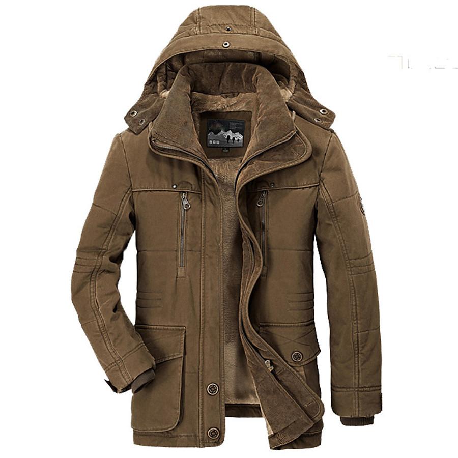 Men's Cotton Hoodie Jacket Military Tactical Jacket Hiking Fleece Jacket Winter Outdoor Thermal Warm Windproof Fleece Lining Multi Pockets Windbreaker Parka Trench Coat Skiing Camping / Hiking Fishing