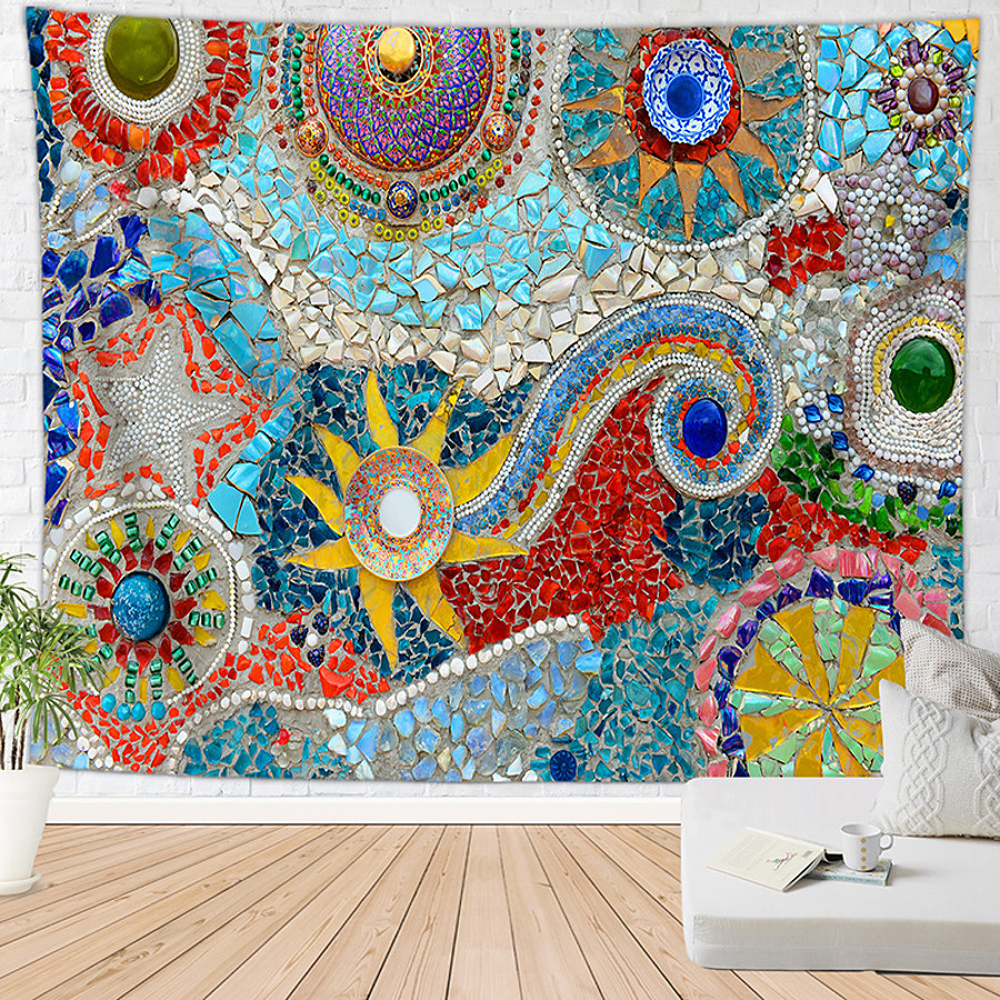 Mandala Bohemian Wall Tapestry Stones Stained Glass Art Decor Blanket Curtain Hanging Home Bedroom Living Room Dorm Decoration Boho Hippie Indian