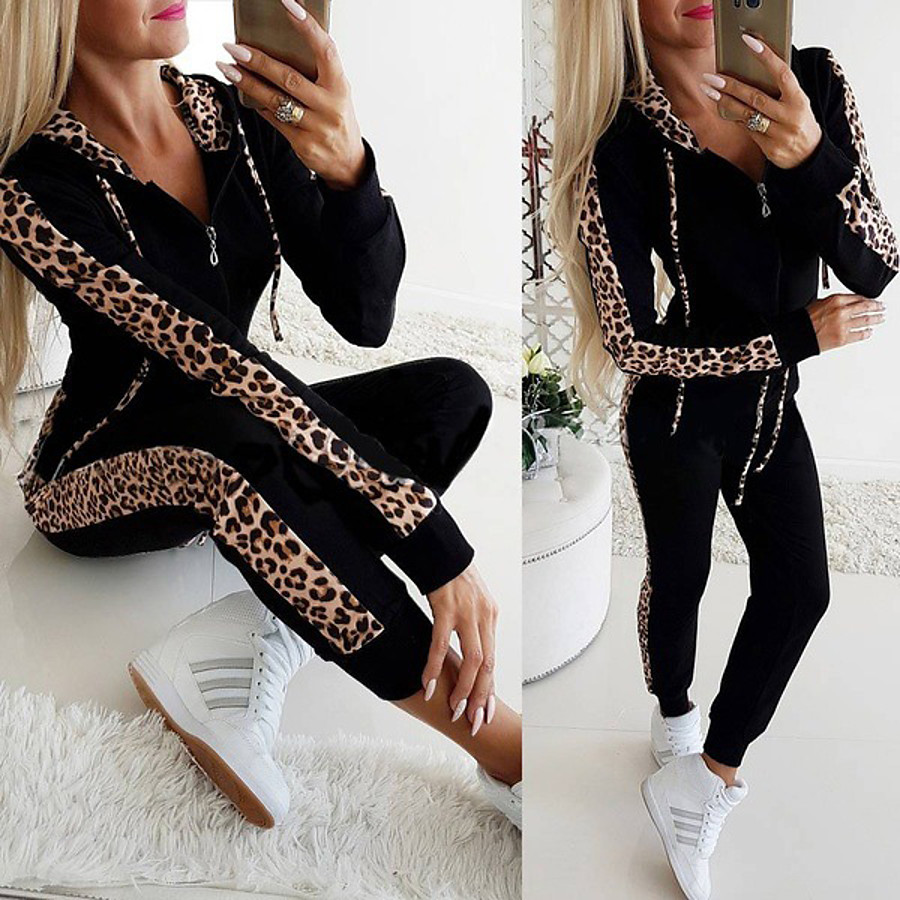 Women's 2 Piece Full Zip Tracksuit Sweatsuit Casual Athleisure 2pcs Winter Long Sleeve Thermal Warm Breathable Soft Fitness Gym Workout Jogging Training Sportswear Leopard Normal Track pants White