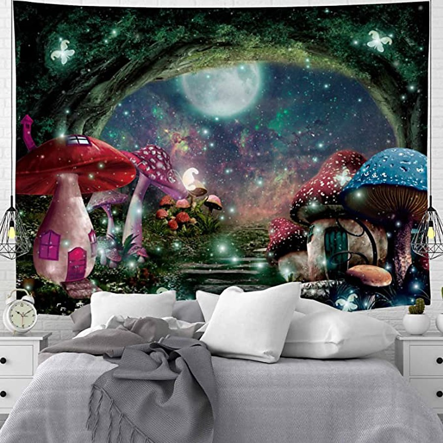 Wall Tapestry Art Deco Blanket Curtain Picnic Table Cloth Hanging Home Bedroom Living Room Dormitory Decoration Polyester Fiber Mushroom