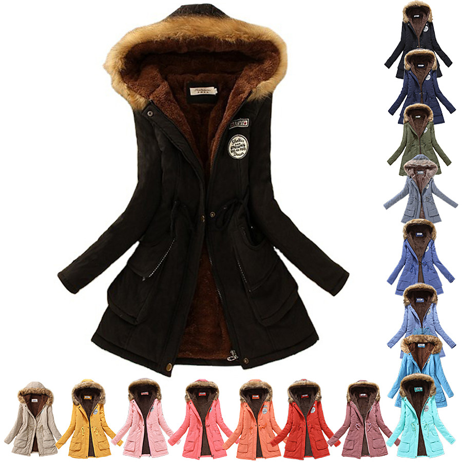 Women's Cotton Hoodie Jacket Hiking Fleece Jacket Winter Outdoor Thermal Warm Lightweight Breathable Fashion Parka Trench Coat Top Camping / Hiking Hunting Fishing Light Blue Lake blue Navy