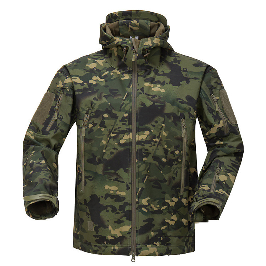 Men's Hunting Jacket Outdoor Thermal Warm Waterproof Windproof Fleece Lining Fall Winter Spring Camo Coat Top Polyester Camping / Hiking Hunting Fishing Jungle camouflage Army Green Camouflage