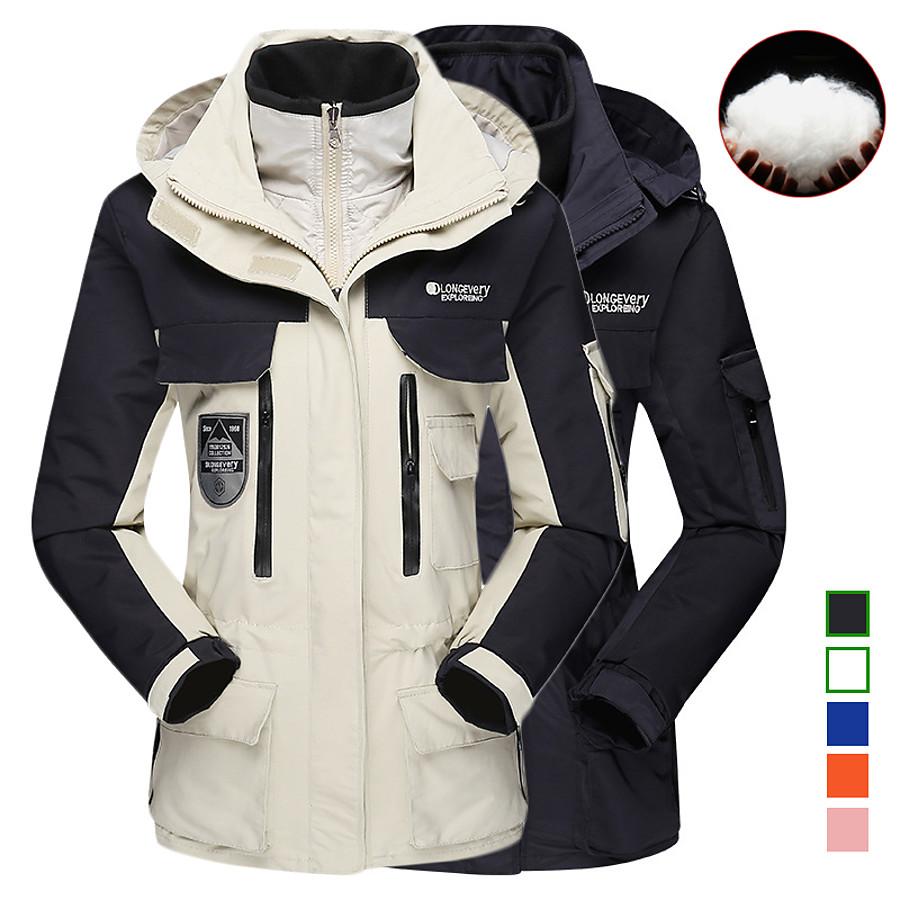 Women's Hiking Down Jacket Hiking 3-in-1 Jackets Ski Jacket Winter Outdoor Thermal Warm Waterproof Windproof Lightweight Winter Softshell Jacket Coat Top Camping Hunting Fishing Pink off-white Orange