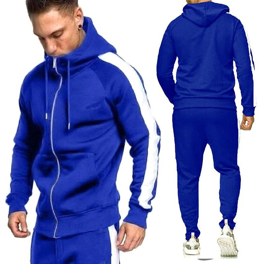 Men's 2 Piece Full Zip Tracksuit Sweatsuit Casual Athleisure 2pcs Winter Long Sleeve Breathable Sweat wicking Fitness Gym Workout Running Walking Jogging Sportswear Solid Colored Normal Hoodie Track