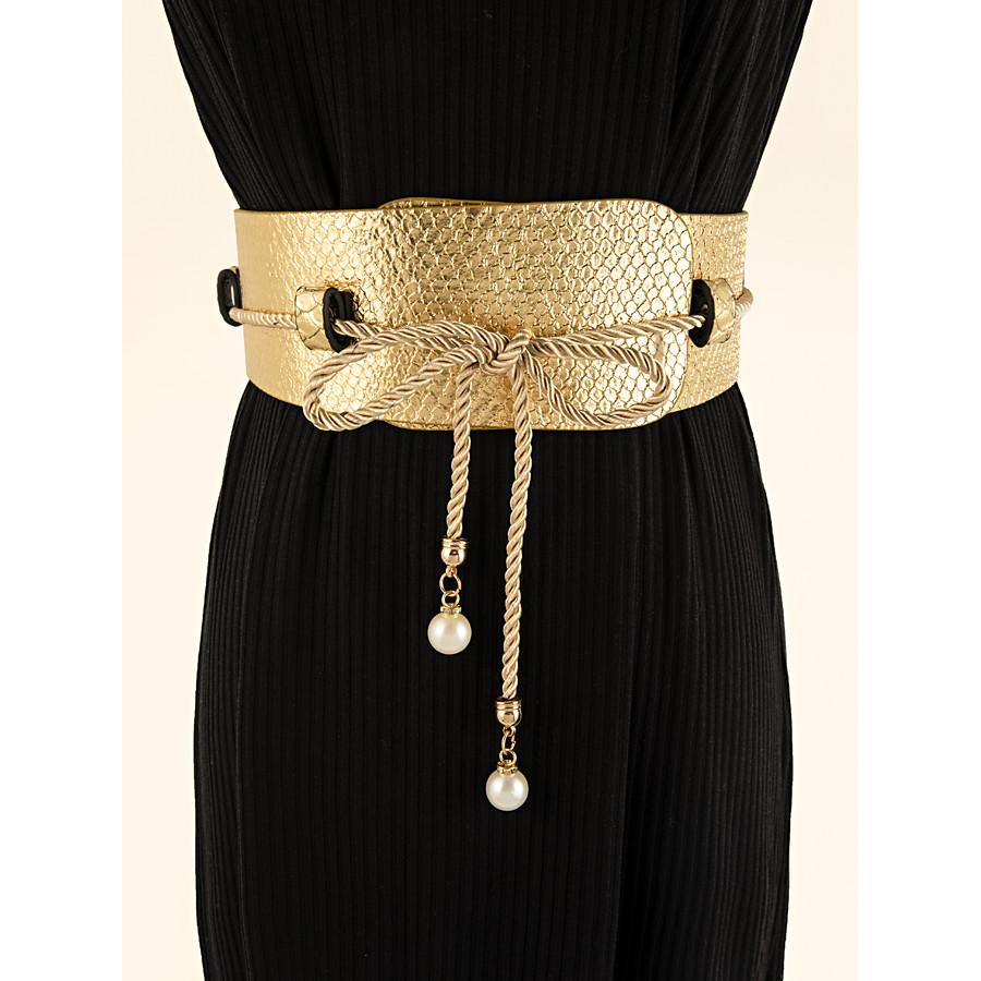 Women's Wide Belt Gold Party Wedding Street Daily Belt Pure Color / Work / Fall / Winter / Spring / Summer