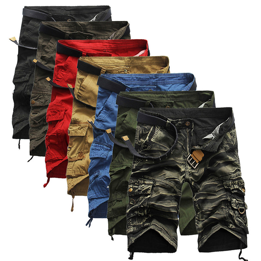 Men's Cargo Shorts Hiking Shorts Tactical Shorts Belted Multi-Pockets Quick Dry Breathable Wearproof Summer Solid Colored Camo / Camouflage Cotton Bottoms for Hunting Fishing Casual Red Army Green