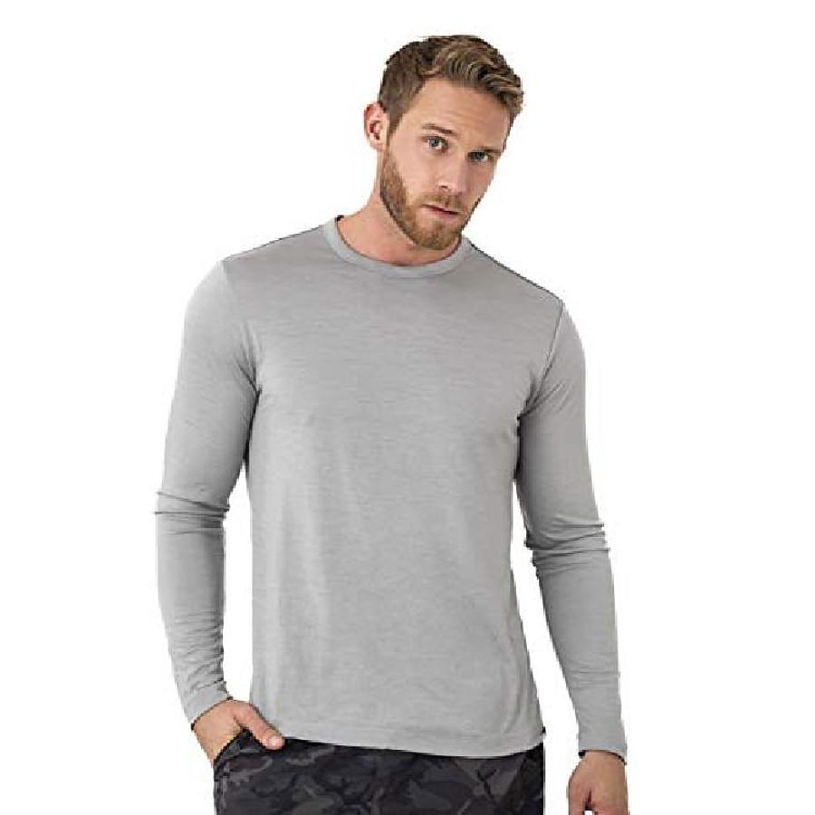 merino wool base layer - mens 100% merino wool long sleeve thermal shirts lightweight, midweight, heavyweight (xx-large, grey marl)