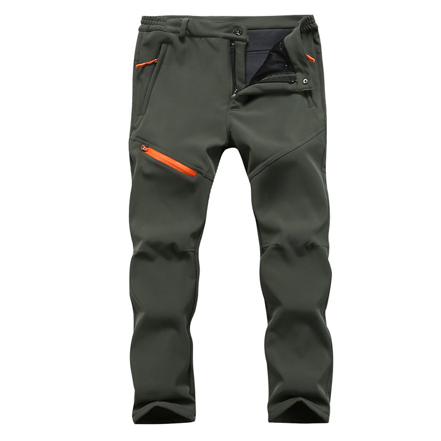 Men's Hiking Pants Trousers Softshell Pants Tactical Pants Winter Outdoor Thermal Warm Breathable Quick Dry Sweat-Wicking Wool Cotton Cargo Pants Bottoms Black Army Green Dark Gray Camping / Hiking