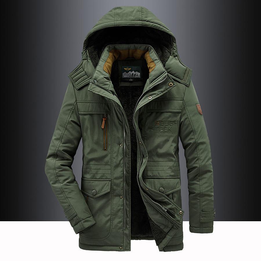 Men's Hiking Fleece Jacket Winter Outdoor Fleece Lining Warm Detachable Cap Winter Jacket Hunting Ski / Snowboard Camping / Hiking / Caving Black Army Green Khaki Dark Blue