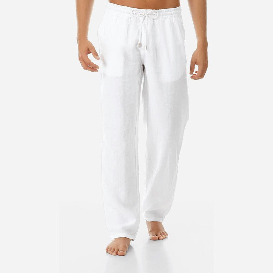 men's jogger pants high elasticity elastic waist gym workout running sweatpants with pockets white