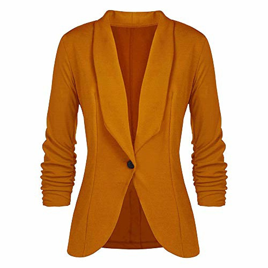 Women's Coat Classic Style Solid Color Solid Long Sleeve Coat Business Fall Spring Regular Jacket Sapphire / Work / V Neck