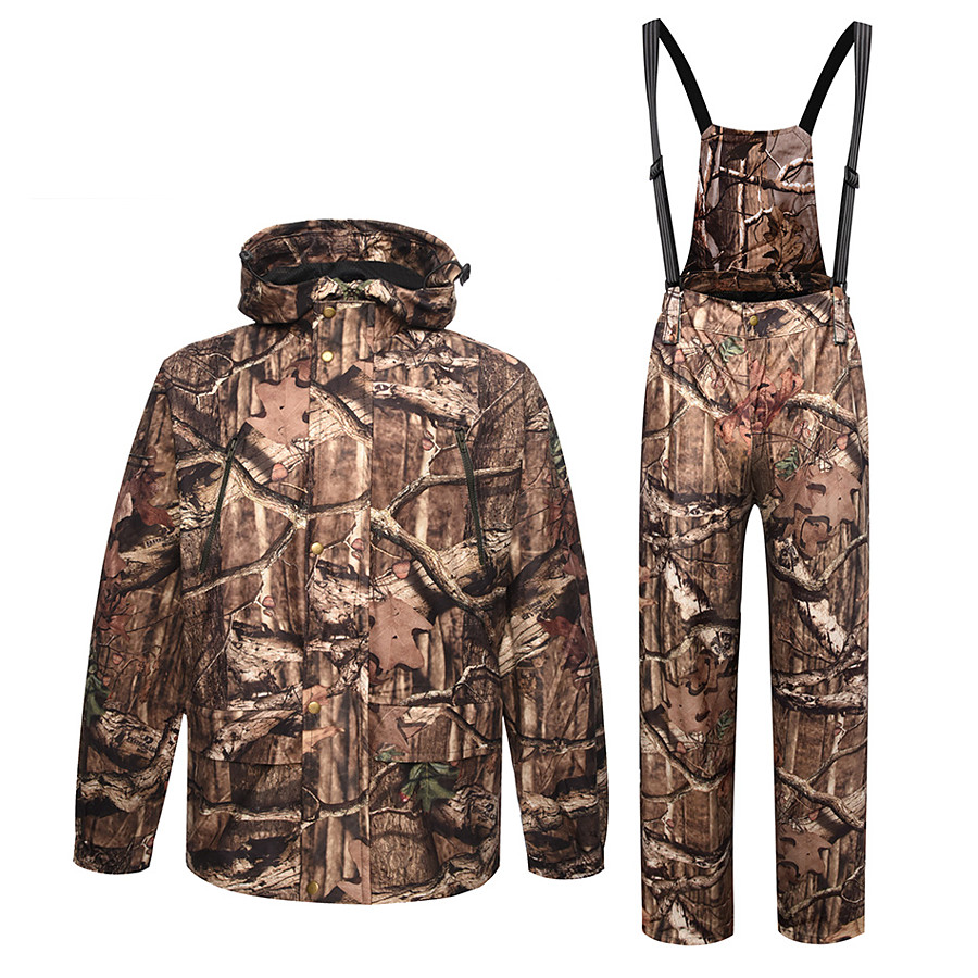 Men's Hoodie Ski Jacket with Pants Hunting Jacket with Pants Outdoor Autumn / Fall Winter Thermal Warm Windproof Fast Dry Quick Dry Clothing Suit Camo / Camouflage Polyester Taffeta Softshell