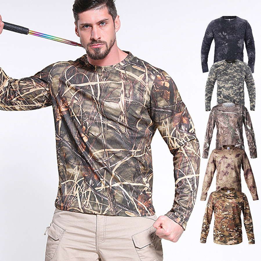 Men's Hiking Tee shirt Hunting T-shirt Tee shirt Camouflage Hunting T-shirt Camo Long Sleeve Outdoor Spring Summer Ultra Light (UL) 3D Quick Dry Breathable Top 100% Polyester Camping / Hiking Hunting