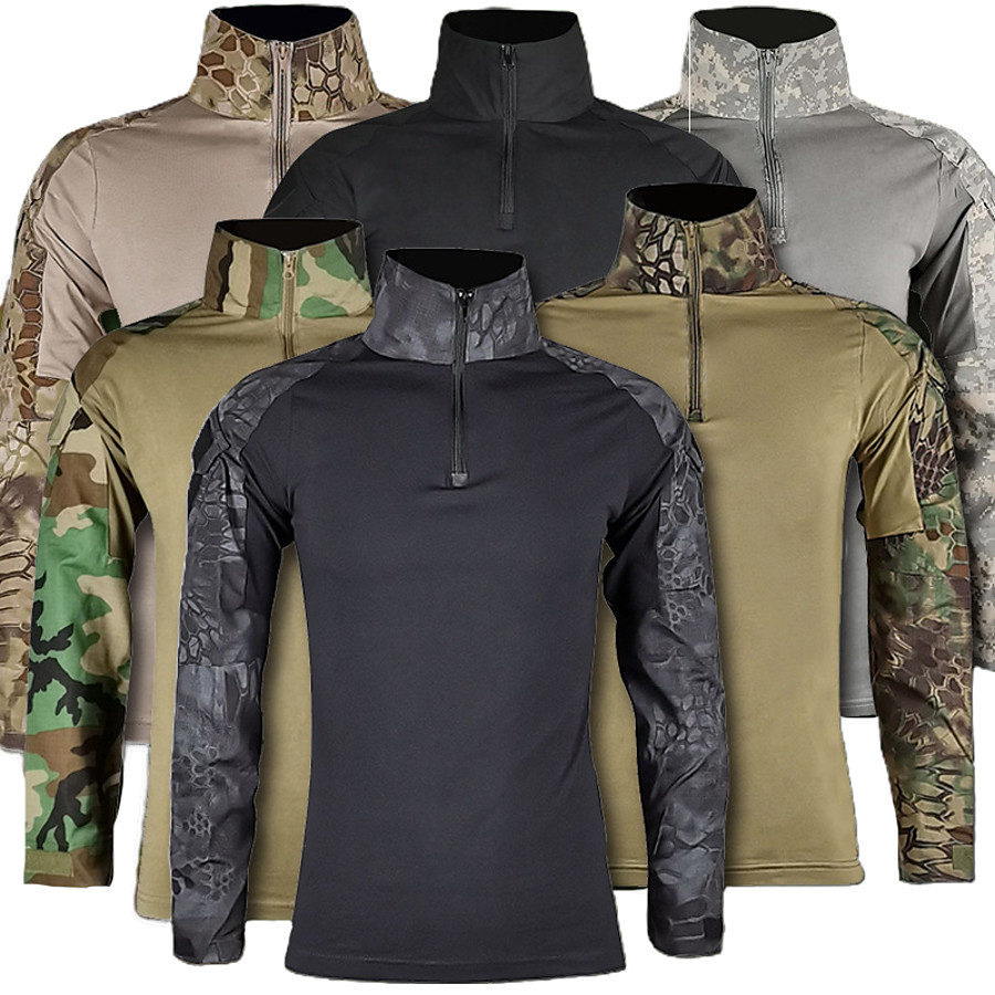 Men's Hunting T-shirt Tee shirt Camo Shirt Combat Shirt Outdoor Fall Spring Quick Dry Wearable Breathable Outdoor Top Camo Cotton Camping / Hiking Hunting Fishing Green / Yellow Sand python pattern