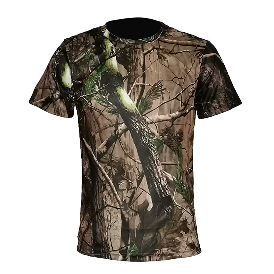 Men's 3D Print Camo / Camouflage Camouflage Hunting T-shirt Short Sleeve Outdoor Quick Dry Breathable Sweat wicking Summer Cotton Polyester Top Camping / Hiking Hunting Combat Green / Yellow Jungle
