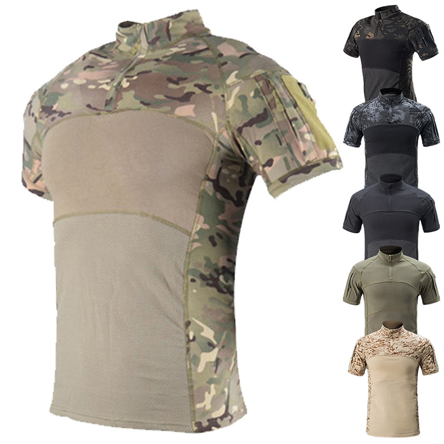 Men's Camo / Camouflage Hunting T-shirt Tee shirt Camo Shirt Combat Shirt Short Sleeve Outdoor Well-ventilated Quick Dry Breathability Breathable Summer Cotton Top Camping / Hiking Hunting Fishing