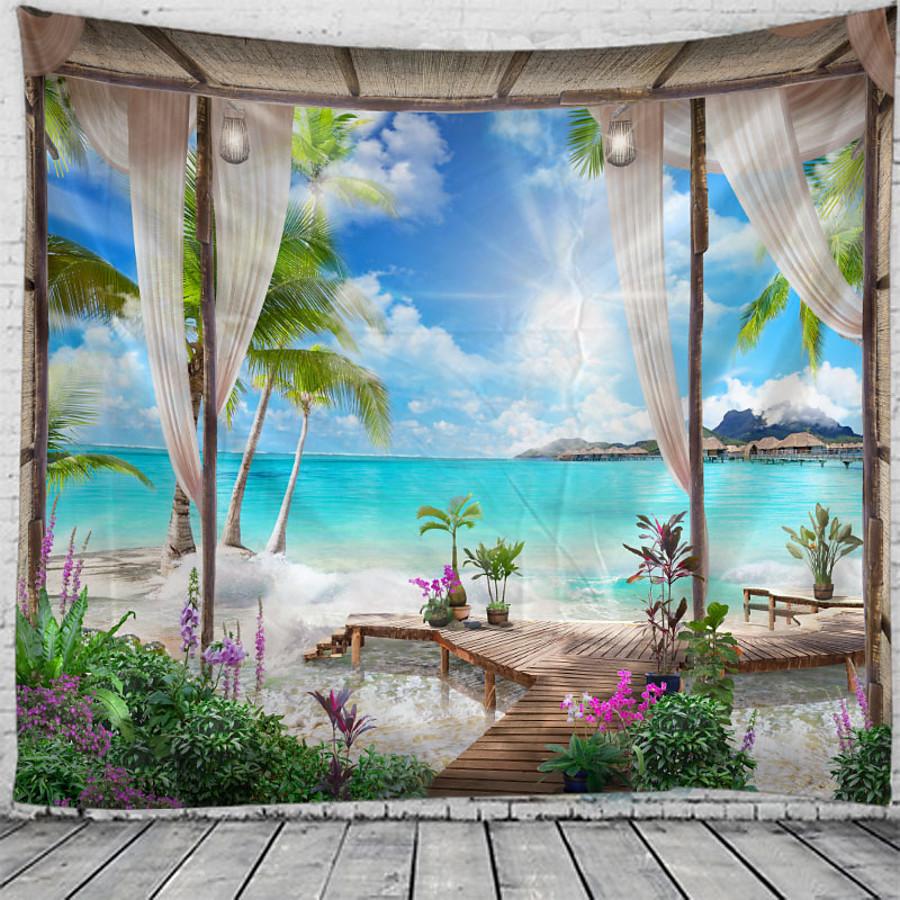 Window Landscape Wall Tapestry Art Decor Blanket Curtain Hanging Home Bedroom Living Room Decoration Coconut Tree Sea Ocean Beach