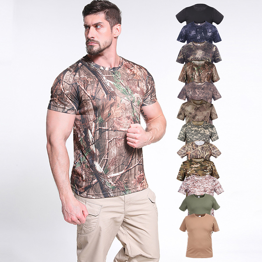 Men's Hunting T-shirt Tee shirt Outdoor Quick Dry Breathable Sweat wicking Skin Friendly Summer Camo / Camouflage Tee Tshirt Top Bottoms Terylene Cotton Short Sleeve Camping / Hiking Hunting Fishing