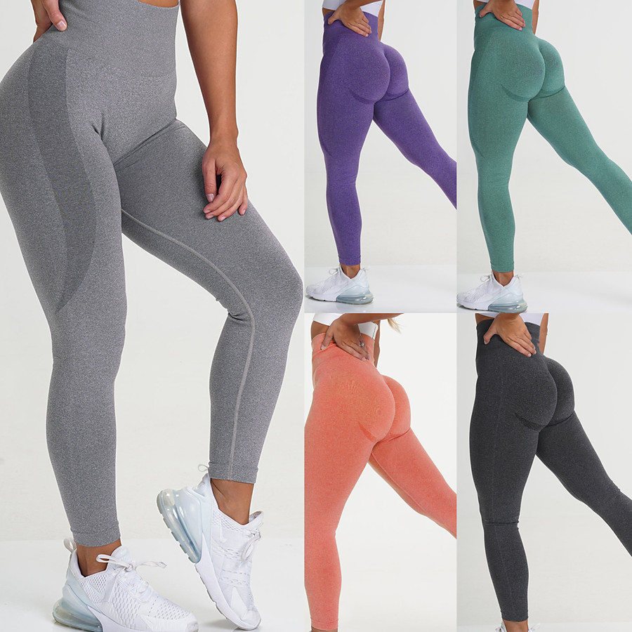 Women's Yoga Pants High Waist Tights Leggings Bottoms Seamless Solid Color Moisture Wicking Zhangqing smiley trousers Dark green smiley trousers Sky Blue Smiley Trousers Yoga Fitness Running Nylon