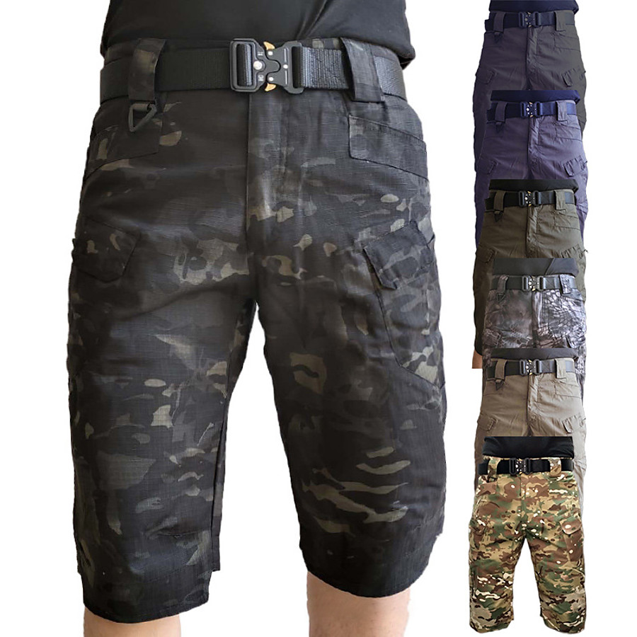 Men's Knee Length Cargo Shorts Hiking Shorts Multi-Pockets Quick Dry Breathable Tactical Shorts Summer Shorts Bottoms for Camping/Hiking Hunting Fishing Black Camo/Camouflage