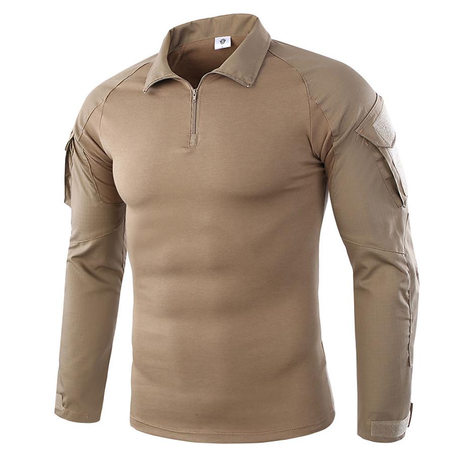 Men's Hunting T-shirt Tee shirt Camo Shirt Combat Shirt Outdoor Quick Dry Breathable Sweat-Wicking Top Camping / Hiking Hunting Combat Jungle camouflage Digital Desert Green Python Pattern Black