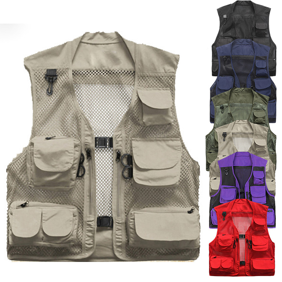 Men's Fishing Vest Hiking Vest Work Vest Outdoor Multi-Pockets Quick Dry Lightweight Breathable Autumn / Fall Spring Summer Vest / Gilet Mesh Camping / Hiking Hunting Fishing Blue khaki Green