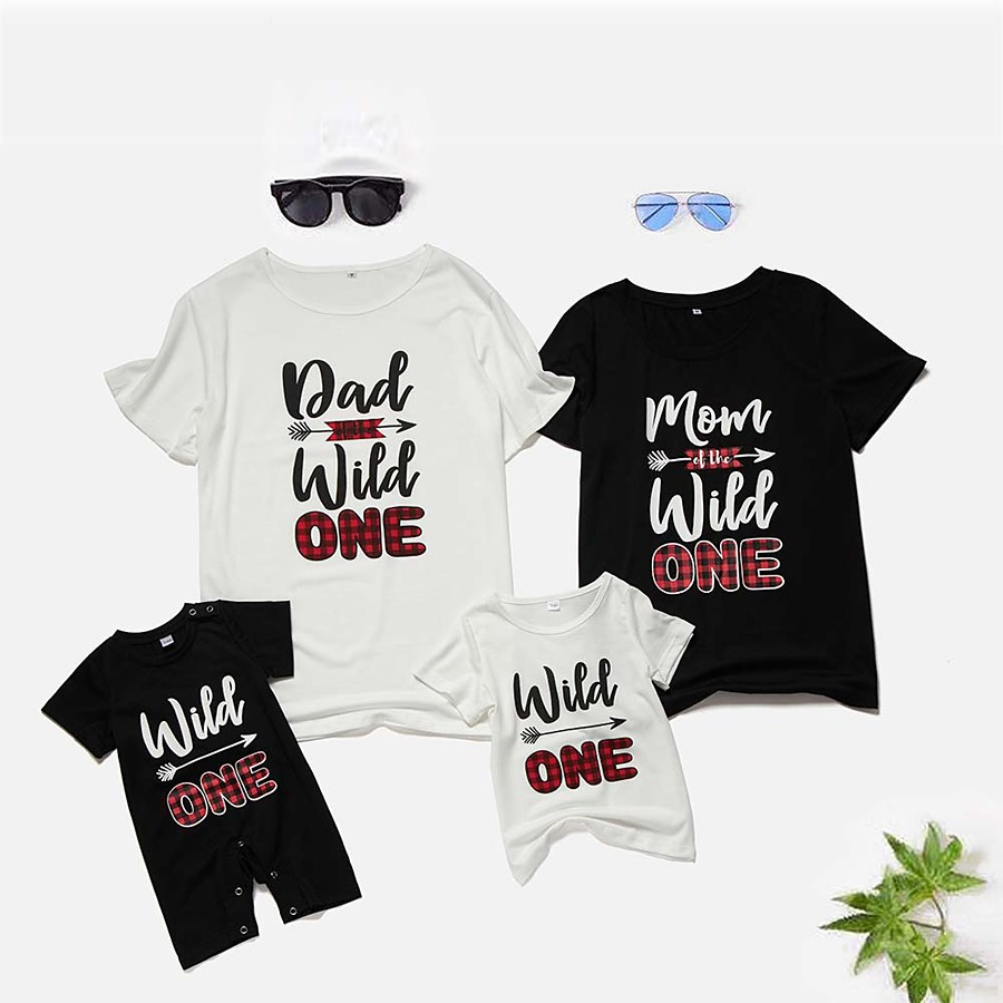 Tops Family Look Graphic Print Black Short Sleeve Matching Outfits / Summer