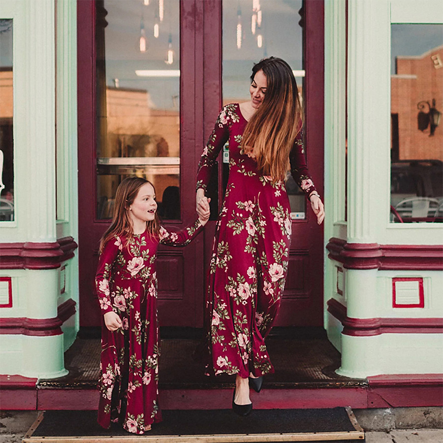 Dress Mommy and Me Casual Flower Print Red Maxi Long Sleeve Floral Matching Outfits / Fall / Spring / Summer
