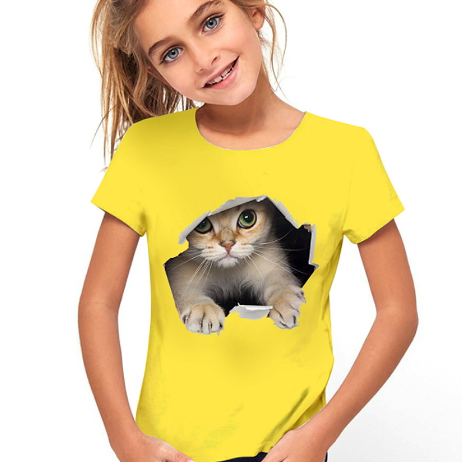 Kids Girls' T shirt Cat Short Sleeve Animal Print Yellow Children Tops Active Cute Summer Daily Wear Regular Fit 4-12 Years