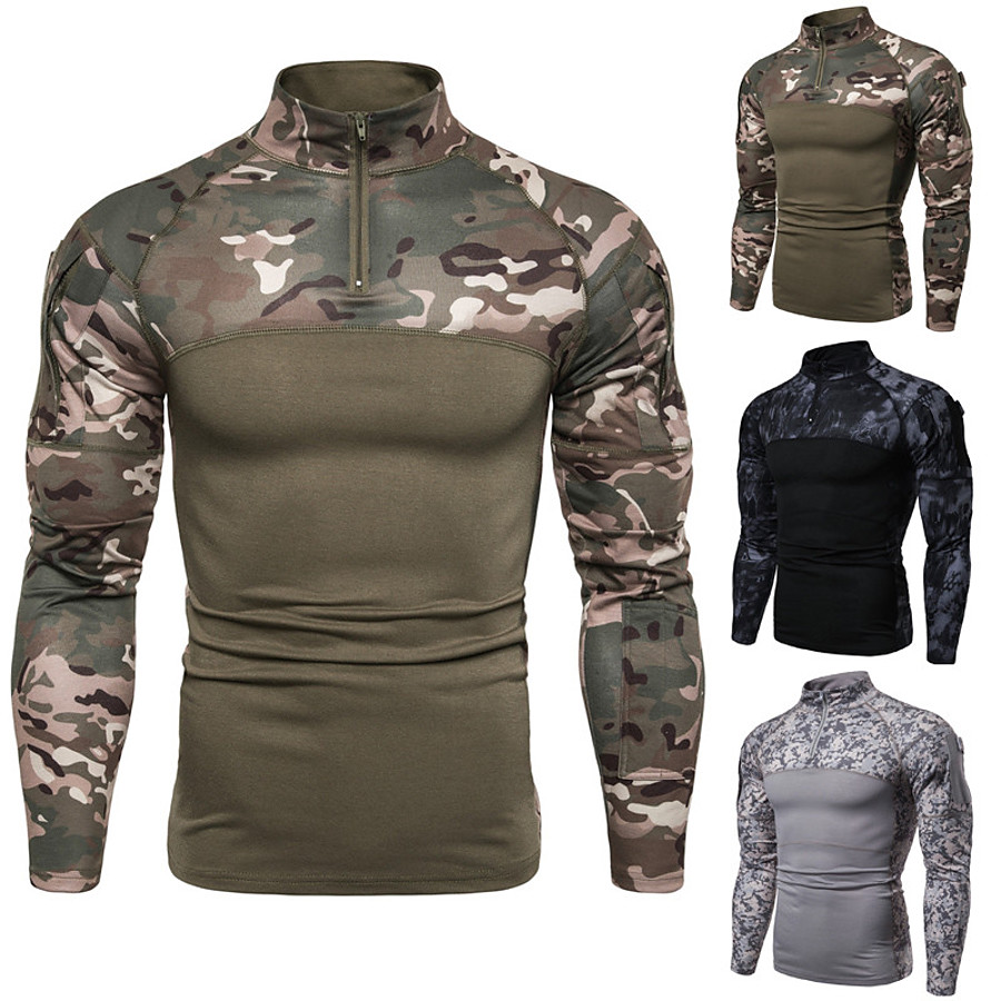 Men's Camo / Camouflage Camo Shirt Combat Shirt Long Sleeve Outdoor Quick Dry Breathable Soft Sweat-Wicking Fall Spring Polyester Hunting Training Combat Army Green Grey Black